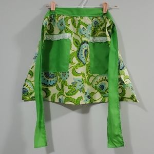 Vintage Apron Green and Blue Floral